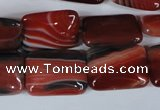 CAG3263 15.5 inches 13*18mm rectangle red line agate beads