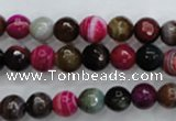 CAG3302 15.5 inches 8mm faceted round colorfull line agate beads