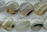 CAG3315 15.5 inches 16mm twisted coin natural grey agate beads