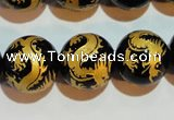 CAG3383 15.5 inches 16mm carved round black agate beads wholesale