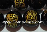 CAG3387 15.5 inches 14mm carved round black agate beads wholesale