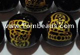 CAG3388 15.5 inches 16mm carved round black agate beads wholesale