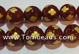 CAG3396 15.5 inches 12mm carved round red agate beads wholesale