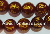 CAG3405 15.5 inches 16mm carved round red agate beads wholesale