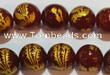 CAG3417 15.5 inches 16mm carved round red agate beads wholesale