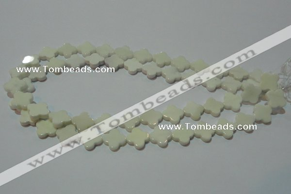 CAG3425 15.5 inches 14*14mm flower white agate gemstone beads