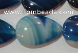 CAG3473 15.5 inches 20*30mm flat teardrop blue line agate beads