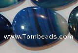 CAG3475 15.5 inches 30*40mm flat teardrop blue line agate beads