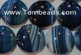 CAG3490 15.5 inches 20mm flat round blue line agate beads