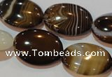 CAG3496 15.5 inches 18*25mm oval brown line agate beads