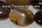 CAG3498 15.5 inches 22*30mm oval brown line agate beads