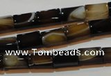 CAG3509 15.5 inches 7*12mm faceted column brown line agate beads