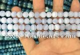 CAG3581 15.5 inches 4mm round matte blue lace agate beads