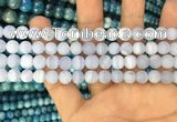 CAG3582 15.5 inches 6mm round matte blue lace agate beads