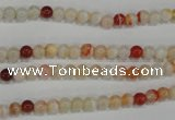 CAG3585 15.5 inches 4mm round red line agate beads wholesale