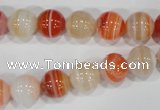 CAG3588 15.5 inches 10mm round red line agate beads wholesale