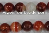 CAG3589 15.5 inches 12mm round red line agate beads wholesale