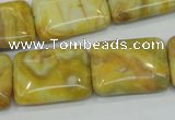CAG3624 15.5 inches 18*25mm rectangle yellow crazy lace agate beads