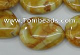 CAG3630 15.5 inches 22*30mm flat teardrop yellow crazy lace agate beads