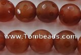 CAG3665 15.5 inches 16mm carved round matte red agate beads