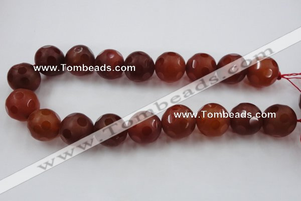 CAG3669 15.5 inches 24mm carved round matte red agate beads