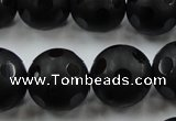 CAG3677 15.5 inches 20mm carved round matte black agate beads