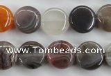 CAG3714 15.5 inches 14mm flat round botswana agate beads wholesale