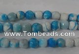 CAG3871 15.5 inches 6mm faceted round fire crackle agate beads