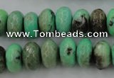 CAG3915 15.5 inches 8*14mm faceted rondelle green grass agate beads