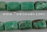 CAG3934 15.5 inches 8*12mm faceted rectangle green grass agate beads