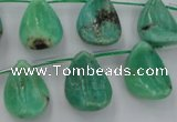 CAG3948 Top-drilled 13*18mm leaf green grass agate beads