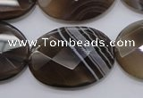 CAG3976 15.5 inches 22*30mm faceted oval grey botswana agate beads