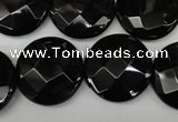 CAG4023 15.5 inches 20mm faceted coin black agate beads