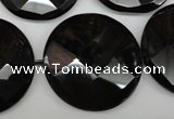 CAG4025 15.5 inches 30mm faceted coin black agate beads