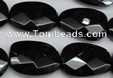 CAG4039 15.5 inches 18*23mm faceted freeform black agate beads
