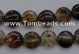 CAG4061 15.5 inches 10mm flat round dragon veins agate beads
