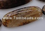 CAG4075 15.5 inches 20*50mm oval dragon veins agate beads