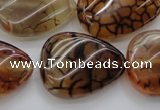 CAG4099 15.5 inches 22*30mm twisted flat teardrop dragon veins agate beads