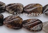 CAG4111 15.5 inches 18*25mm twisted rectangle dragon veins agate beads