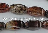 CAG4154 15.5 inches 10*20mm twisted rice dragon veins agate beads