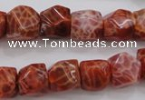 CAG4176 15.5 inches 10*11mm faceted nuggets natural fire agate beads