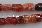 CAG4177 15.5 inches 10*14mm faceted nuggets natural fire agate beads