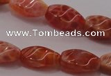 CAG4185 15.5 inches 6*12mm twisted rice natural fire agate beads