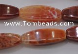 CAG4188 15.5 inches 10*30mm tetrahedron natural fire agate beads