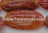 CAG4220 15.5 inches 25*50mm oval natural fire agate beads