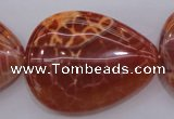 CAG4222 15.5 inches 30*40mm flat teardrop natural fire agate beads