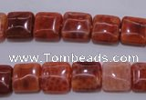 CAG4227 15.5 inches 10*10mm square natural fire agate beads