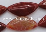 CAG4236 15.5 inches 18*39mm triangle natural fire agate beads