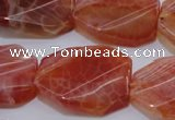 CAG4242 22*30mm faceted & twisted octagonal natural fire agate beads