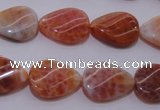 CAG4245 15.5 inches 13*18mm twisted flat teardrop natural fire agate beads